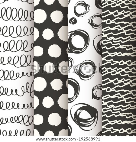Set of 4 black and white doodle seamless patterns. Vector illustration - stock vector