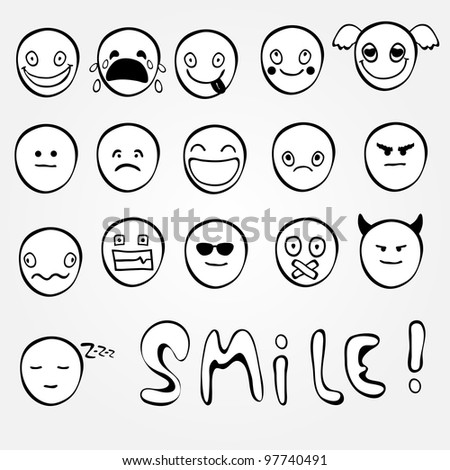 Set of black and white emoticons - stock vector