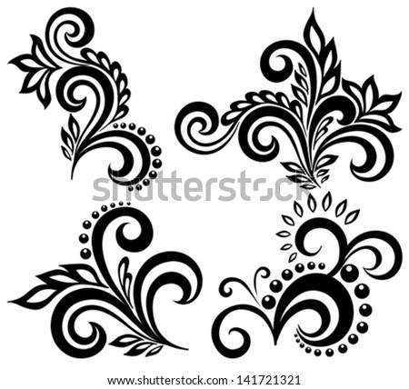 set of black and white floral elements. Many similarities in the profile of the artist - stock vector