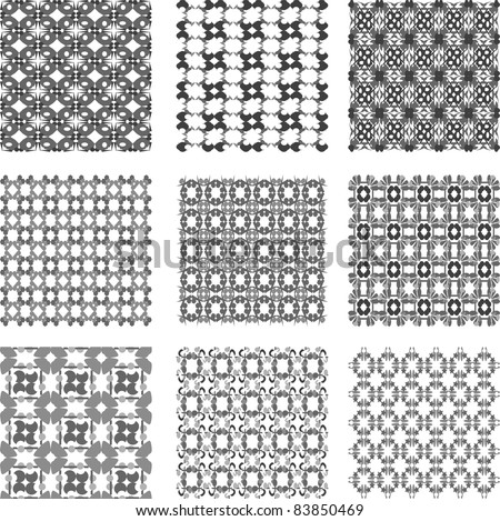 Set of black and white geometric patterns. vector - stock vector