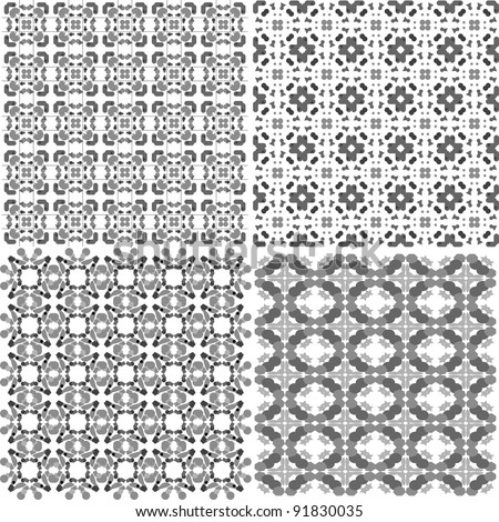 Set of black and white geometric seamless patterns. Vector backgrounds collection - stock vector