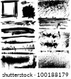 set of black and white grunge paint stains - stock vector