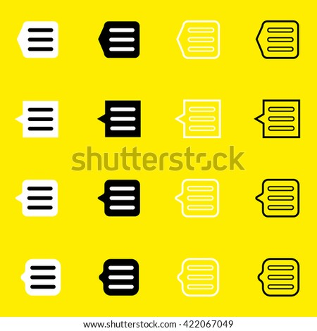 Set of black and white icons: a notification, dialog, list, document, options, message. Only the black contour suitable for any background, any color. Modern - stock vector