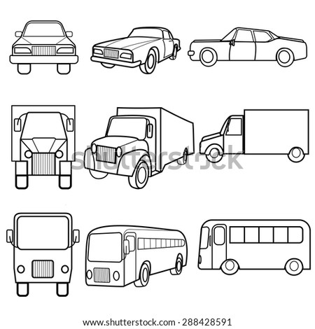 Set of black and white Icons of different target vehicles in different positions symbols car, truck, bus. Vector Illustration - stock vector
