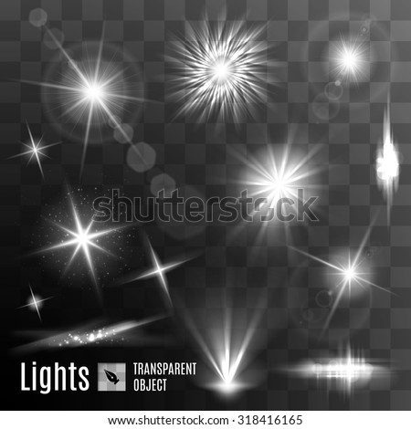 Set of black and white lens flares beams and flashes on transparent background - stock vector