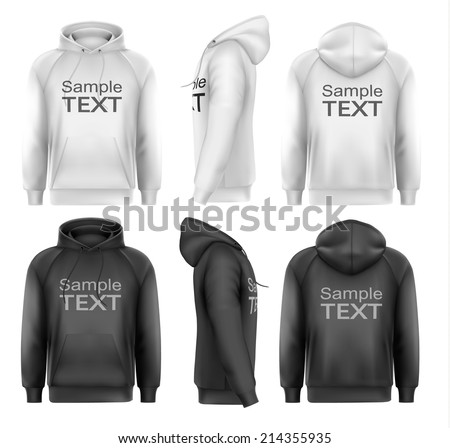 Set of black and white male hoodies with sample text space. Vector. - stock vector