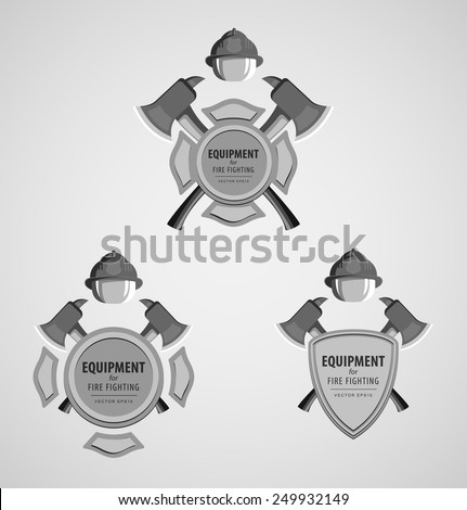 Set of black and white monochrome vector illustrations icons. Firefighter Emblem or volunteer. Maltese cross, shield, ax, fireman helmet. Element for the magnet on the fridge or print for a T-shirt. - stock vector