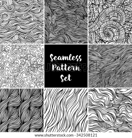Set of black and white repeating wave backgrounds. Seamless pattern. Isolated vector illustration. Design for fabrics, textiles, paper, wallpaper, web.Coloring book pages for kids and adults. - stock vector