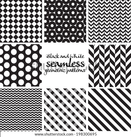 Set of black and white seamless geometric patterns - stock vector