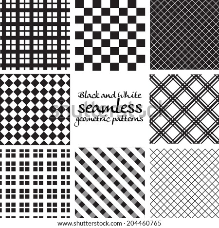 Set of black and white seamless geometric patterns in square - stock vector