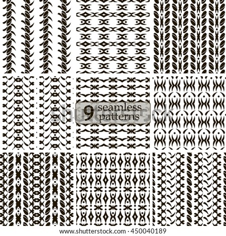 Set of 9 black and white seamless patterns. Abstract geometric ornaments with roundish elements and flourishes. Vector illustration for stylish creative design - stock vector