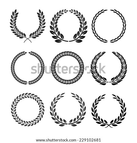 Set of black and white silhouette circular laurel foliate and wheat wreaths depicting an award achievement heraldry nobility and the classics vector illustration - stock vector