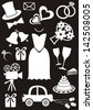 Set of black and white silhouette icons for wedding cards and invitations - stock vector