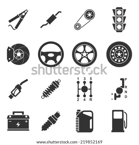 set of black and white silhouette icons of car parts - stock vector