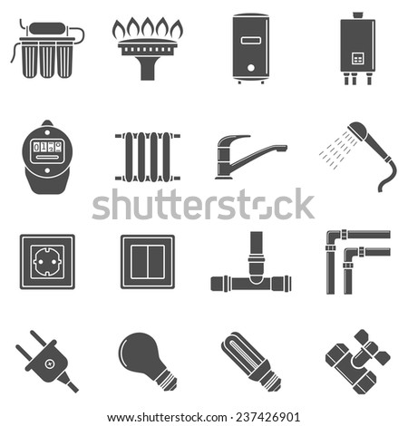 set of black and white silhouette icons of home communications supply lines - stock vector