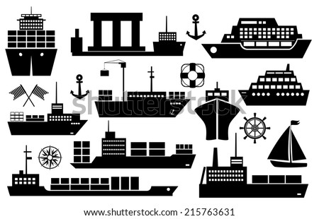 Set of black and white silhouette ships and boats icons showing passenger lines  cruise ship  sailboat  yacht  container ship  tanker in frontal and side views - stock vector