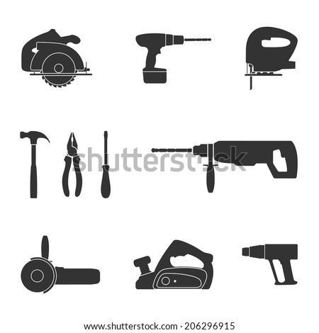set of black and white silhouette web icons of tools screwdriver, fret saw, circular saw, drill, angle grinder, industrial fan, jack, hummer and pliers - stock vector