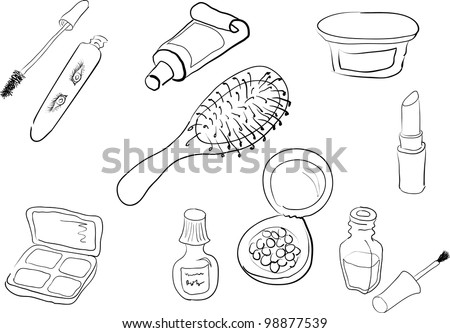 Set of black and white  silhouettes of different woman cosmetics - stock vector