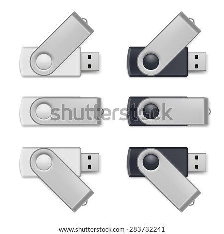 Set of black and white USB flash drive isolated on white - stock vector