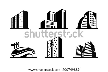 Set of black and white vector building icons showing the exteriors of six modern buildings with a sports stadium  high-rise apartment and office blocks and skyscrapers - stock vector