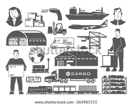 Set of black and white vector elements on the theme of Logistics, Warehouse, Freight, Cargo Transportation. Storage of goods, Insurance. Modern flat design.
