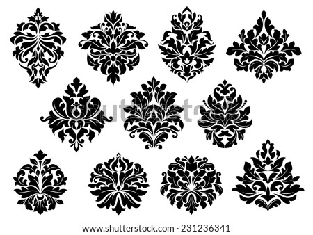 Set of black and white vector silhouette floral and foliate arabesque motifs suitable for damask style interior decor design elements - stock vector