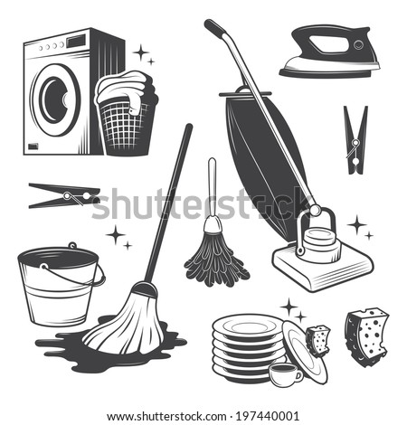 Set of black and white vintage cleaning tools. - stock vector