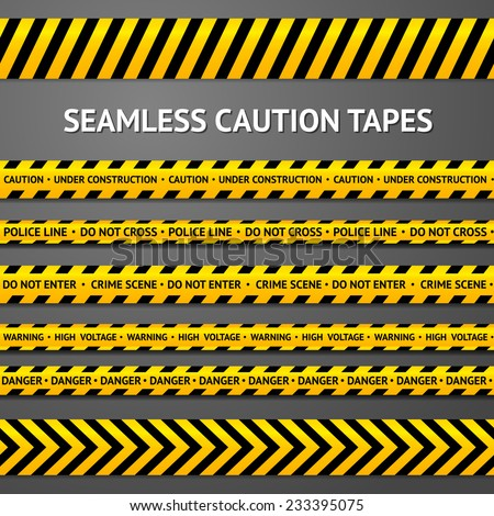 Set of black and yellow seamless caution tapes with different signs. Police line, crime scene, high voltage, do not cross, under construction etc. - stock vector