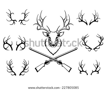 Set of black antlers vector silhouettes with a central trophy and guns in a hunting or deer stalking concept - stock vector