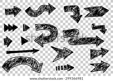 Set of black Arrow, at transparent effect background - stock vector