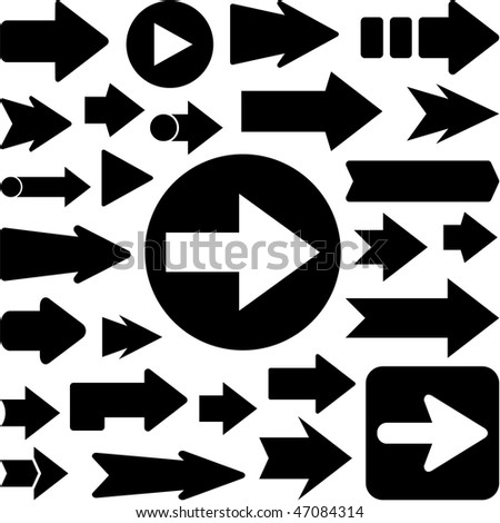 Set of black arrows. Vector illustration. - stock vector