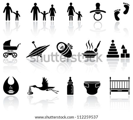 Set of black baby icons on white background, illustration