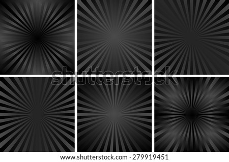 set of black backgrounds with rays - stock vector