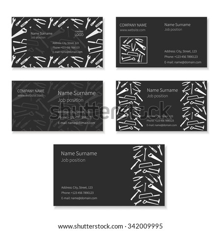 Set of black business cards with plane working tools and place for your text. Vector. - stock vector