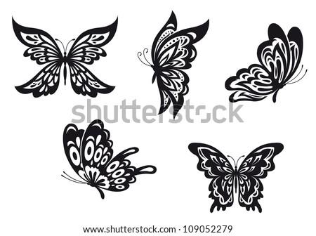 Set of black butterfly tattoos. Vector illustration - stock vector