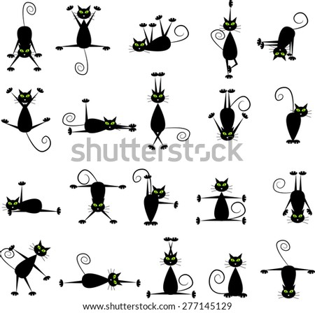 Set of black cats doing yoga and gymnastics.  - stock vector