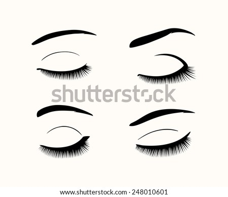 Set of black close eyes. Vector eyelashes and eyebrows silhouettes - stock vector