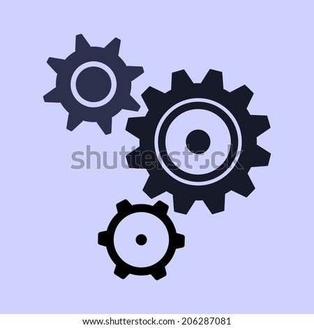 Set of black cogs (gears) on light background. Vector illustration. - stock vector