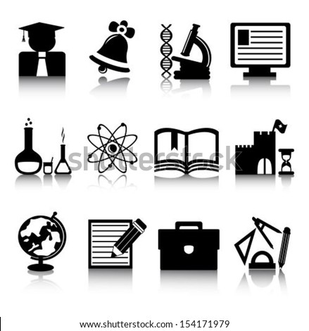 Set of black education icons on a white background - stock vector