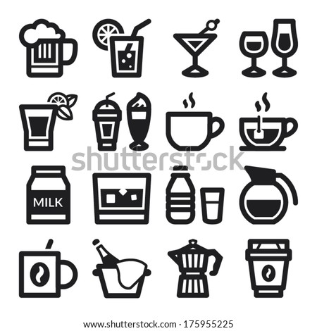 Set of black flat icons about beverage - stock vector
