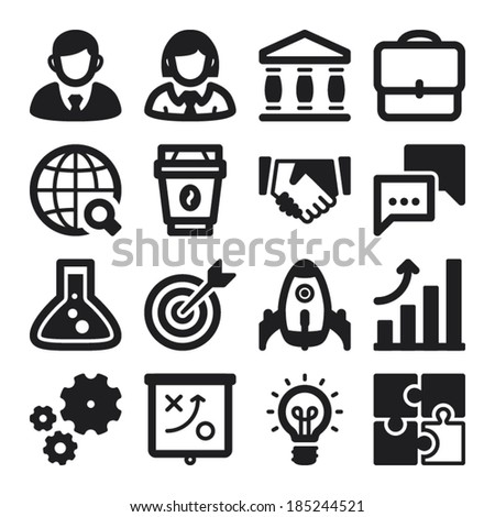 Set of black flat icons about business. Start up - stock vector