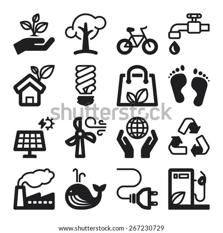 Set of black flat icons about ecology - stock vector