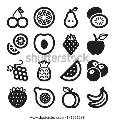 Set of black flat icons about fruit - stock vector