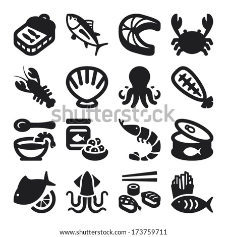 Set of black flat icons about seafood. - stock vector