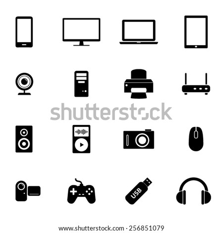 Set of black flat icons - PC hardware, computer parts and electronic devices - stock vector