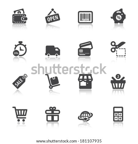 Set of black flat icons with reflection about shopping - stock vector