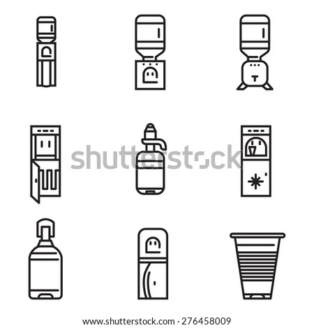 Set of black flat line design vector icons for water cooler elements on white background. - stock vector