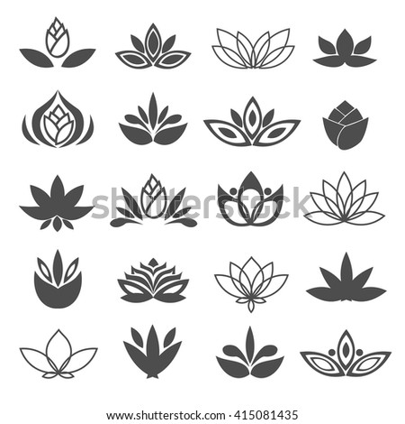 Set of black flowers design elements. Plant, blossom and sprout growing icons flat line design vector. - stock vector