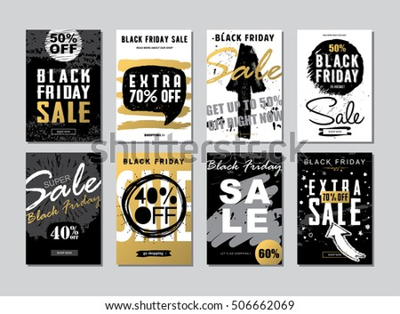Set of Black Friday Sale banners Templates Banners for Websites and Mobile Websites. Trendy flat style with hand-lettering words for posters,  newsletter designs, coupons, social media banners. Vector