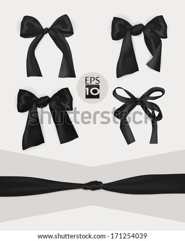 Set of black gift bows  - stock vector